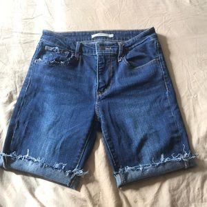 Levi's 721 high rise skinny mid thigh shorts